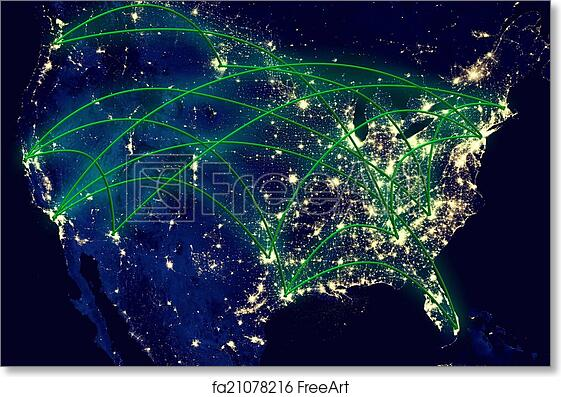 Free Art Print Of United States Network Map United States Network - Us-map-night