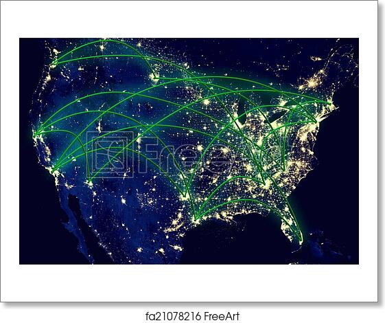 Free Art Print Of United States Network Map United States Network - Us map at night from space