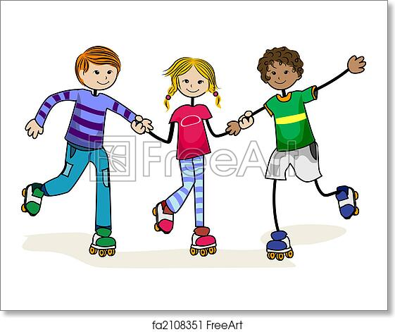 Free Art Print Of Roller Skate Kids Roller Skate Kids With Clipping Path Freeart Fa2108351