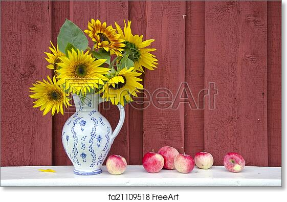 Free Art Print Of Decorative Ceramic Jug Pitcher With Sunflowers And