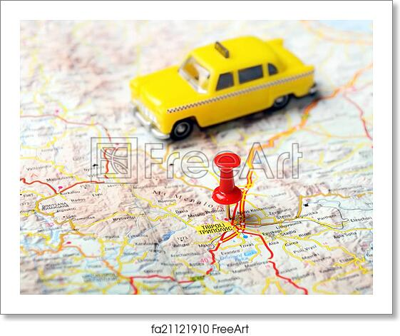 Free Art Print Of Tripoli Greece Map Taxi Close Up Of Tripoli