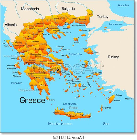 picture regarding Printable Map of Greece titled No cost artwork print of Greece