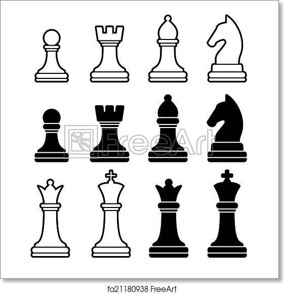photograph regarding Printable Chess Pieces identified as No cost artwork print of Chess Parts Together with King Queen Rook Pawn Knight and Bishop. Vector Icons Fastened
