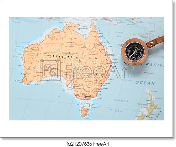 Australia Travel Map.Free Art Print Of Travel Destination Australia Map With Compass