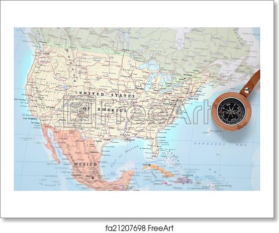 Free art print of Travel destination United States, map with compass ...