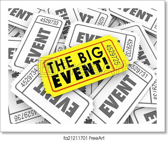 free art print of big event golden yellow ticket special admission