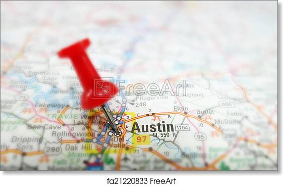 photograph relating to Printable Map of Austin named Totally free artwork print of Austin map