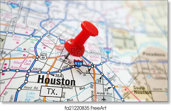 graphic relating to Houston Map Printable identify Totally free artwork print of Houston map
