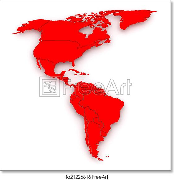 Free art print of Map of worlds. North and South America.