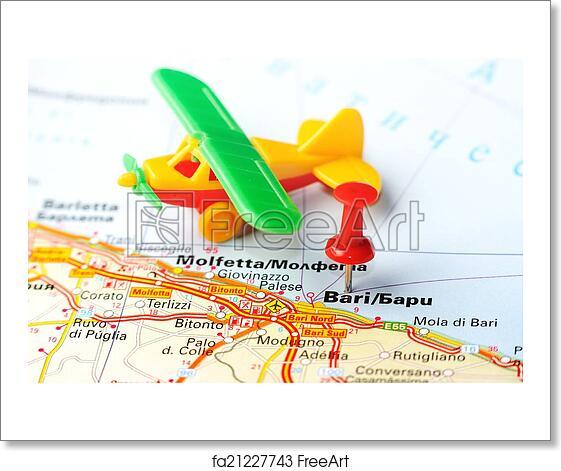 Free Art Print Of Bari Italy Map Airplane Close Up Of Bari Italy