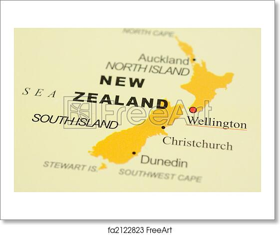 Where Is Wellington New Zealand On The Map.Free Art Print Of New Zealand On Map