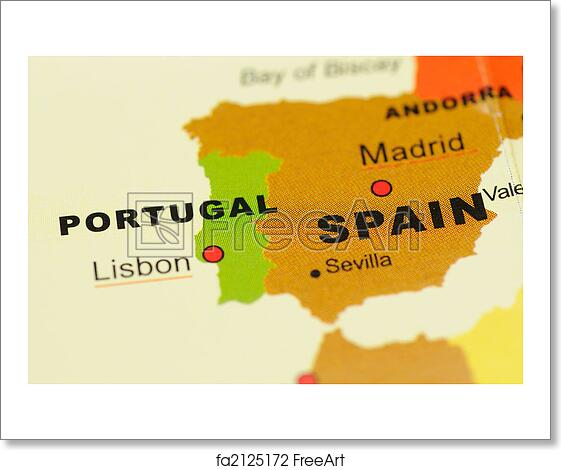 Free Art Print Of Portugal And Spain On Map Close Up Of Portugal