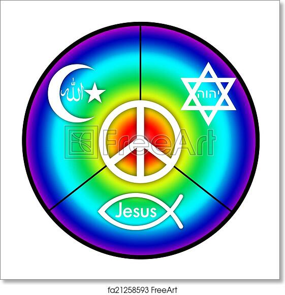 Free Art Print Of Peace A Peace Symbol With Symbols Of Judaism
