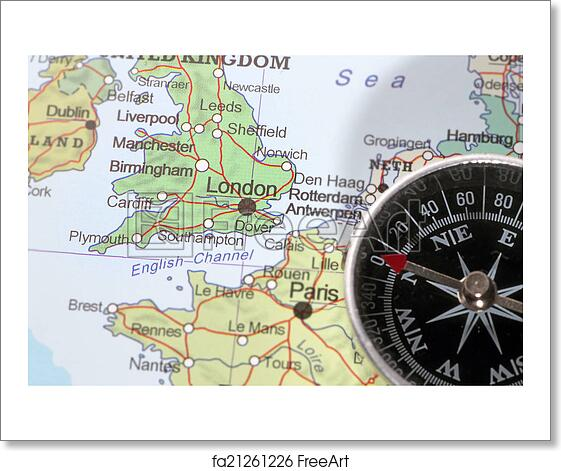 free art print of travel destination london united kingdom map with compass