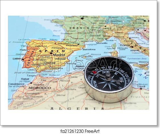 Travel Map Of Spain.Free Art Print Of Travel Destination Spain Map With Compass