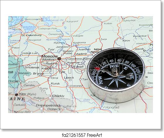 Free art print of Travel destination Moscow Russia, map with compass ...