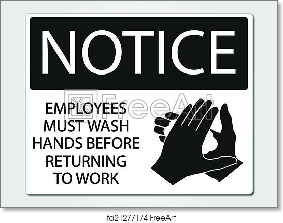 picture regarding Employees Must Wash Hands Sign Printable named Free of charge artwork print of Staff members ought to clean arms signal