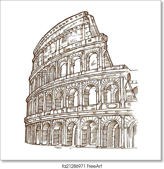 Free Art Print Of Colosseum Hand Draw. Colosseum Hand Draw