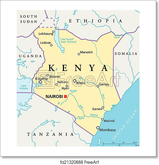 Free Art Print Of Kenya Political Map Political Map Of Kenya With - Kenya rivers map