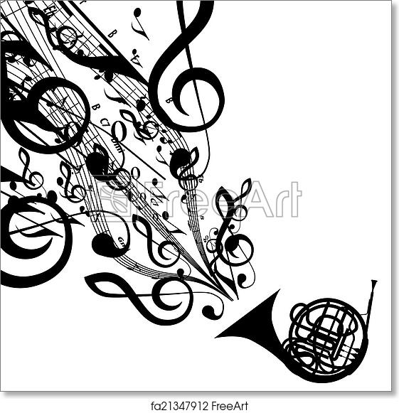 Free Art Print Of Vector Silhouette Of French Horn With Musical
