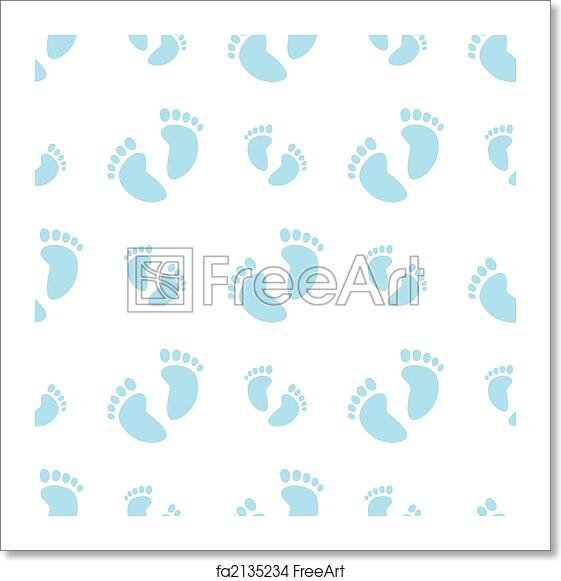 free art print of seamless baby feet background boy vector