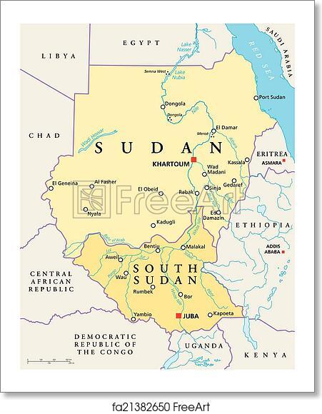 Free art print of Sudan and South Sudan Political Map