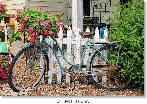 Photograph of an Antique Rusty Old Bicycle Photo Paper Poster Rusty Bike Picture