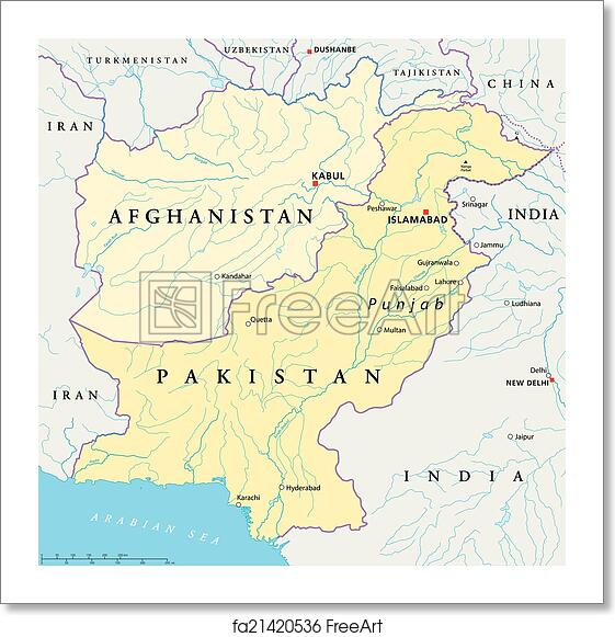 Free art print of Afghanistan and Pakistan Political