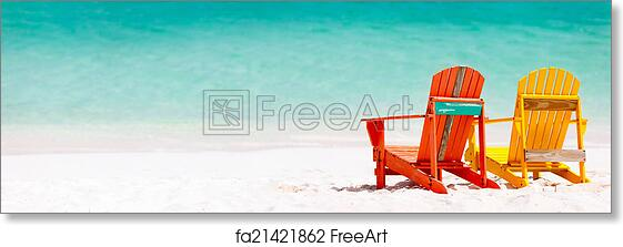 Free Art Print Of Colorful Chairs On Caribbean Beach