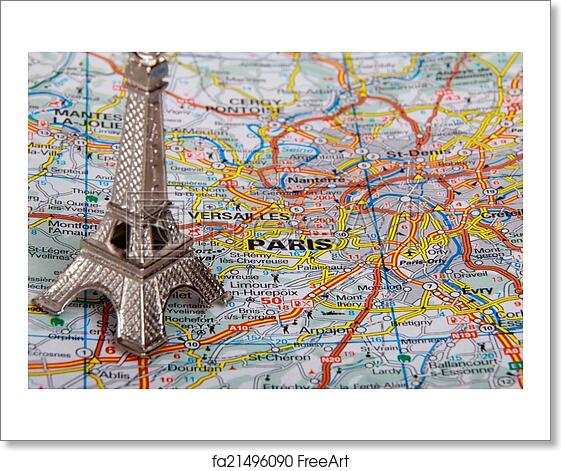 Free Art Print Of Eiffel Tower On A Map Of Paris Eiffel Tower On A