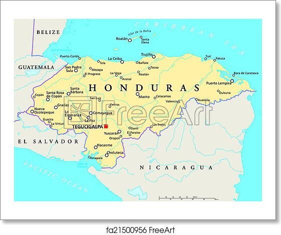 Political Map Of Belize.Free Art Print Of Honduras Political Map Political Map Of Honduras