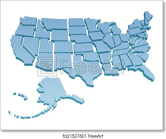 Free art print of US Map separate United States
