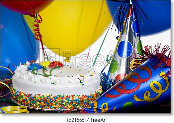 Free Art Print Of Birthday Cake Party Hats And Balloons A White Surrounded By Colorful Ribbon Streamers