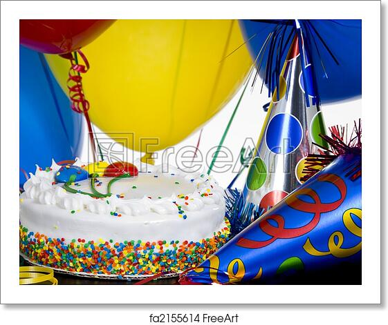 Free Art Print Of Birthday Cake Party Hats And Balloons
