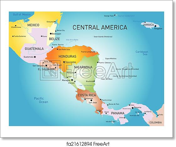 Free art print of Central america map. Vector color central america ...