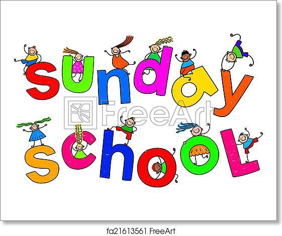 free art print of sunday school kids whimsical cartoon illustration