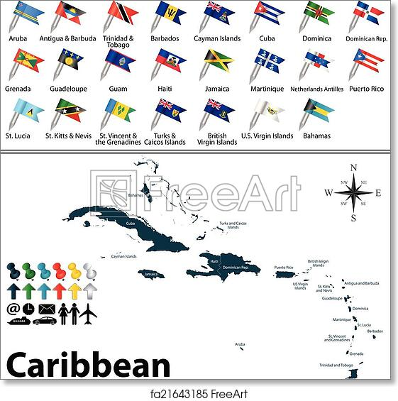 picture about Printable Map of the Caribbean identified as Free of charge artwork print of Political map of Caribbean