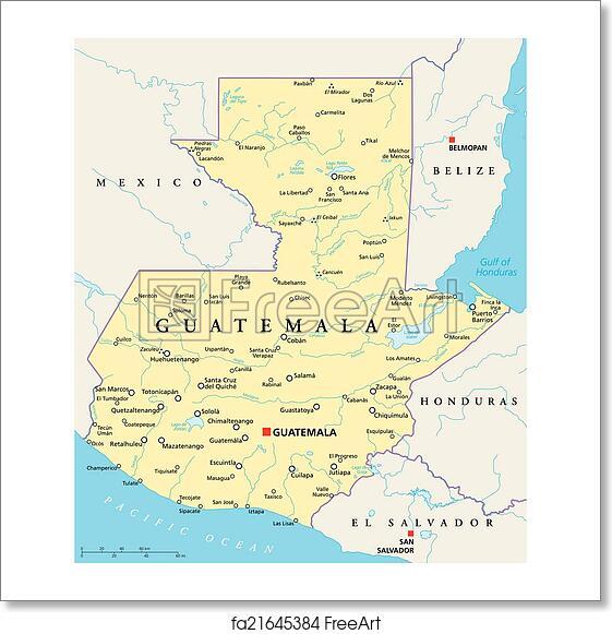 Free art print of Guatemala Political Map. Guatemala Political Map ...