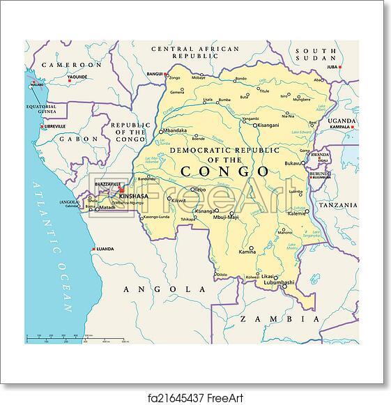 Free art print of Congo Democratic Republic Political Map Map Kinshasa on congo river, addis ababa, africa map, kampala map, kuala lumpur map, nairobi map, mogadishu map, praia map, brazzaville map, cairo map, malabo map, kigali map, leopoldville map, maputo map, lagos map, abidjan map, cape town map, timbuktu map, congo map, dar es salaam, cape town, luanda map, freetown map, yaounde map,