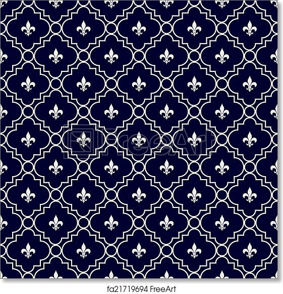 Free art print of Navy Blue and White Fleur-De-Lis Pattern Textured ...