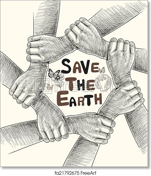 Free art print of Hands Save The Earth Drawing Conceptual