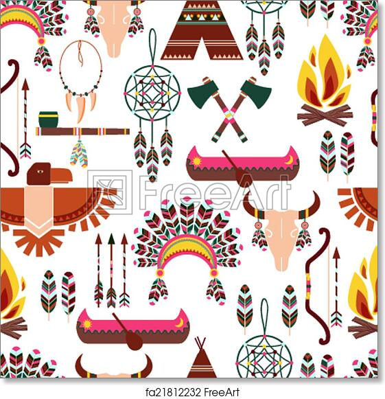 free art print of seamless pattern american tribal native symbols
