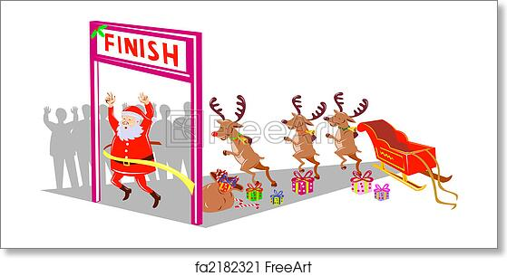 free art print of santa and his reindeers crossing finish line