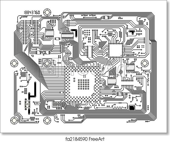 Free art print of Electronic modern circuit board vector background ...