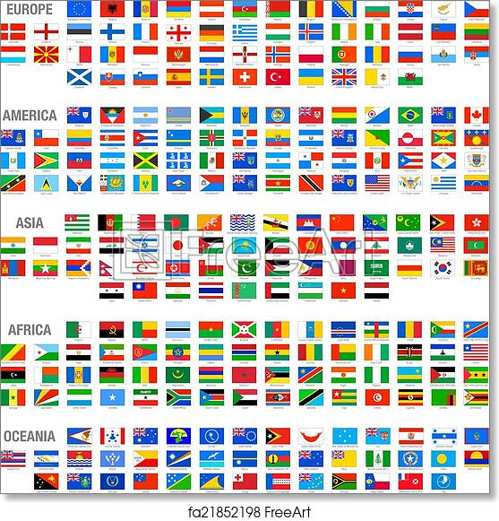 graphic relating to Printable Country Flags named No cost artwork print of Vector Earth Nation Flags fastened