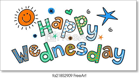 Free Art Print Of Happy Wednesday Cartoon Text Clipar Hand Drawn