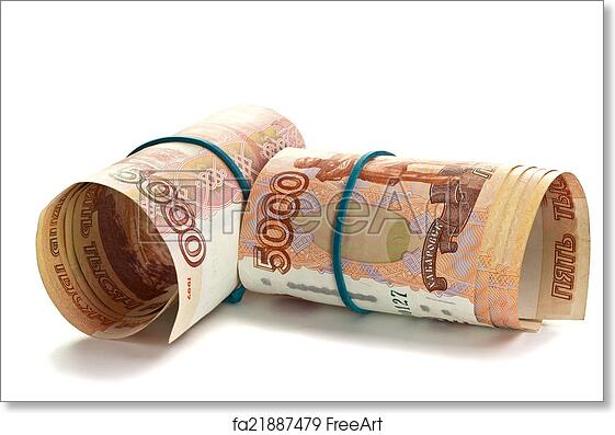 image relating to Free Printable Money Bands called Free of charge artwork print of Roll of Russian cash with rubber band