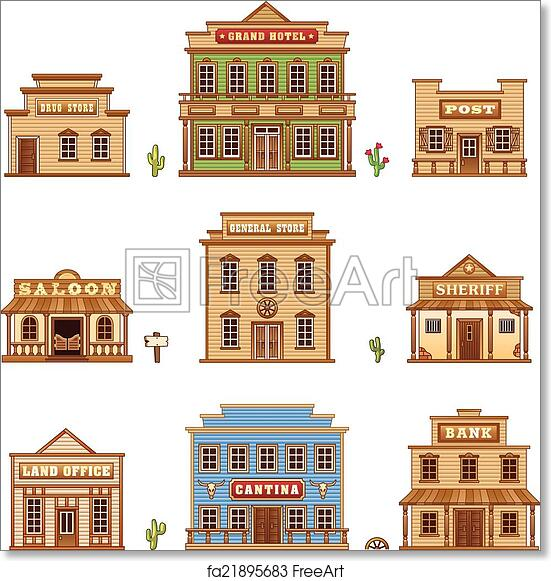 photo regarding Printable Buildings titled No cost artwork print of Wild west constructions