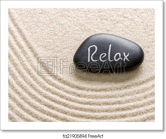Relax Stone: Free Art Print Of Black Stone With The Inscription Relax