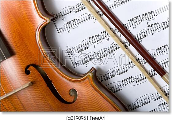 Free art print of Violin and bow on music